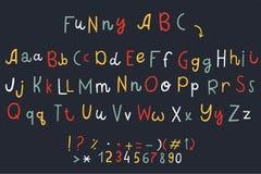 Ensemble de vecteur de trois alphabets anglais de différence drôle de bande dessinée illustration libre de droits