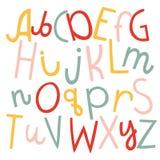 Ensemble de vecteur de trois alphabets anglais de différence drôle de bande dessinée illustration stock