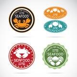 Ensemble de vecteur un label de fruits de mer de crabe Image stock