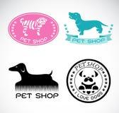Ensemble de vecteur un label de magasin de bêtes Photo stock