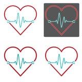 Ensemble de vecteurs de coeur et d'impulsion avec quatre divers contours Photos stock