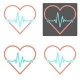 Ensemble de vecteurs de coeur et d'impulsion avec quatre divers contours Image libre de droits