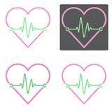 Ensemble de vecteurs de coeur et d'impulsion avec quatre divers contours Photo stock