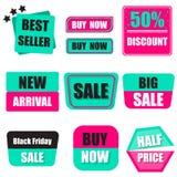 Ensemble de vente, acheter maintenant, nouvelle, demi bannière des prix dans vert lourd et Photo libre de droits