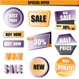 Ensemble de vente, d'acheter maintenant, de nouvelle, demi bannière des prix en jaune et de purpl Photographie stock