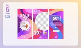 Ensemble de vente d'histoires d'Instagram illustration libre de droits