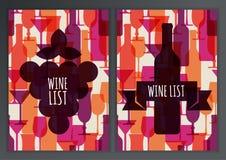 Ensemble de verre de cocktail abstrait et de bouteille de vin colorés sans couture Image libre de droits