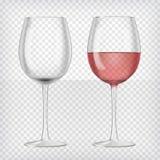 Ensemble de verres de vin transparents réalistes illustration libre de droits