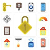 Ensemble de verrouillage, mobile, prise, sonde, maison, prise, mètre, Coole illustration stock
