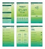 Ensemble de vert de design de l'interface mobile d'utilisateur Image libre de droits