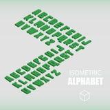 Ensemble de vert isométrique d'alphabet Photographie stock