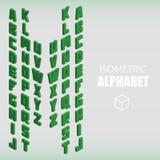 Ensemble de vert isométrique d'alphabet Images libres de droits