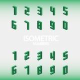 Ensemble de vert isométrique de nombres Images stock