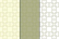 Ensemble de vert olive et de blanc de modèles sans couture géométriques Photo stock