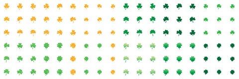 Ensemble de vert de scintillement d'or d'amour de feuille d'oxalide petite oseille illustration stock