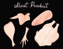 Ensemble de viande de poulet Collection de vecteur de produits carnés de volaille Carcasse du coq La jambe entière Filet de Illustration Stock