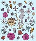 Ensemble de vie marine Créatures et animaux mignons Faune sous-marine Illustration tirée par la main Éléments pour la conception  Photographie stock libre de droits