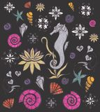 Ensemble de vie marine Créatures et animaux mignons Faune sous-marine Illustration tirée par la main Éléments pour la conception  Photo libre de droits