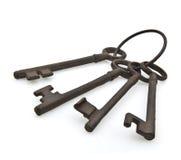 Ensemble de vieilles clés antiques rouillées Image libre de droits