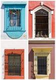 Ensemble de vieilles fenêtres au Mexique Photos stock