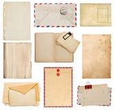Ensemble de vieilles feuilles de papier, livre, enveloppe, carte Images libres de droits