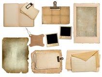 Ensemble de vieilles feuilles de papier, livre, pages, cartes Photographie stock