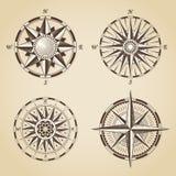 Ensemble de vieilles roses de boussole nautiques antiques de vintage Signes de vecteur illustration de vecteur