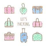 Ensemble de vieux sacs et valises de vintage pour le voyage Image libre de droits