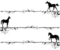 Ensemble de vignettes avec des chevaux Images stock