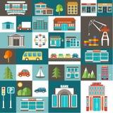 Ensemble de ville illustration de vecteur