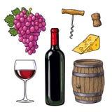 Ensemble de vin de bouteille, verre, baril, raisins, fromage, liège, tire-bouchon Photographie stock