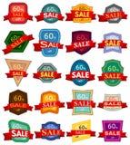 Ensemble de vingt autocollants de remise Insignes colorés avec le ruban rouge à vendre 60 pour cent  Photos libres de droits