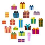 Ensemble de vingt boîte-cadeau colorés multi en cercle illustration libre de droits