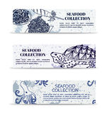 Ensemble de vintage de fruits de mer marins de collection de bannières illustration libre de droits