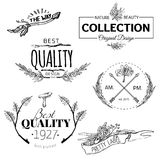 Ensemble de vintage et de labels modernes de logo de ferme Photos stock