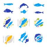 Ensemble de vintage et de labels modernes de restaurant de logo de fruits de mer Photographie stock libre de droits