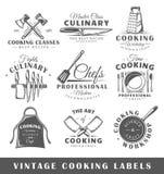 Ensemble de vintage faisant cuire des labels Photos stock