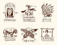 Ensemble de vintage gravé, tiré par la main, vieux, de labels ou d'insignes pour l'Indien ou le natif américain buffle, visage av Images libres de droits