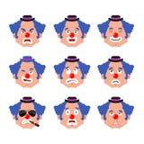 Ensemble de visage de clown sommeil et avatar mauvais d'émotion emoji déconcertant et triste de funnyman crainte de harlequin et  illustration de vecteur