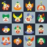 Ensemble de visage de clown illustration stock