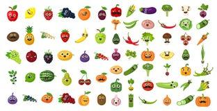 Ensemble de visage de légumes et de fruits illustration libre de droits