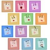 Ensemble de visage de valentines d'émotion d'autocollant d'icône d'avatar de sourire Image libre de droits