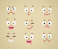 Ensemble de visages émotifs de bande dessinée Images libres de droits