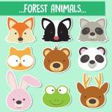 Ensemble de visages animaux illustration de vecteur