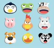 Ensemble de visages animaux Image stock