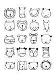 Ensemble de visages animaux, croquis pour votre conception Photographie stock