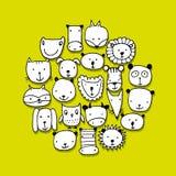 Ensemble de visages animaux, croquis pour votre conception Image stock