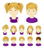 Ensemble de visages d'enfants illustration stock