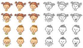 Ensemble de visages de garçon et de fille avec différentes émotions Photos libres de droits