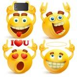 Ensemble de visages de smiley de jaune d'emoji illustration libre de droits
